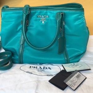 🌺NWT PRADA Turquoise Satchel with Strap✨